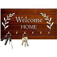 Studio Shubham Welcome Home Wooden Key Holder (23.4cm X 12.8cm X 3cm, Brown)