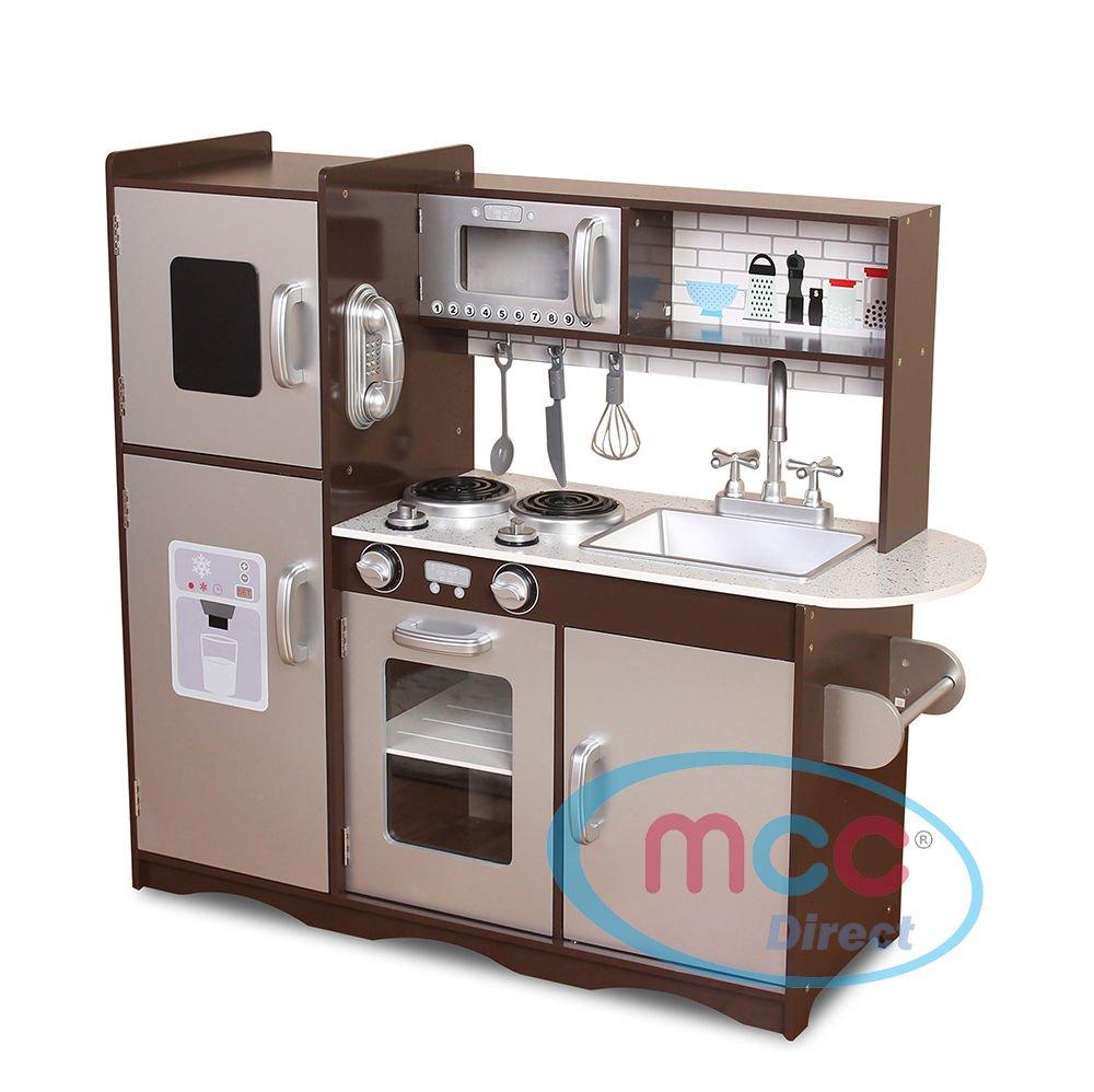 MCC Spielküche aus Holz für Mädchen und Jungen, wunderschönes Design, BRAUN/SILBER, Unisex wunderschönes Design