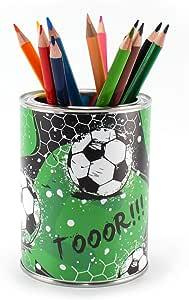 Portalápices para niños con diseño de fútbol (incluye 12 lápices de colores triangulares): Amazon.es: Bricolaje y herramientas