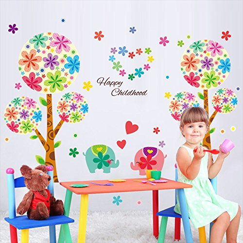 Kaimao Colorful Trees and Elephant Decorative Wall Stickers Removable Wallpapers Home Decals for Kids Baby Bedrooms Nursery Schools