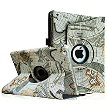 Fintie iPad Air 2 Case - 360 Degree Rotating Stand Case with Smart Cover Auto Sleep / Wake Feature for Apple iPad Air 2 (iPad 6) 2014 Model, Map Design