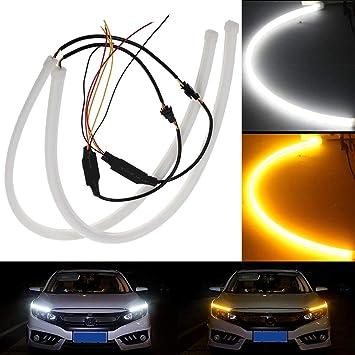 per luci di marcia diurna 60 cm luce di posizione in silicone impermeabile indicatori di direzione flessibile 1 set di strisce LED super luminose giallo per luci di marcia diurna