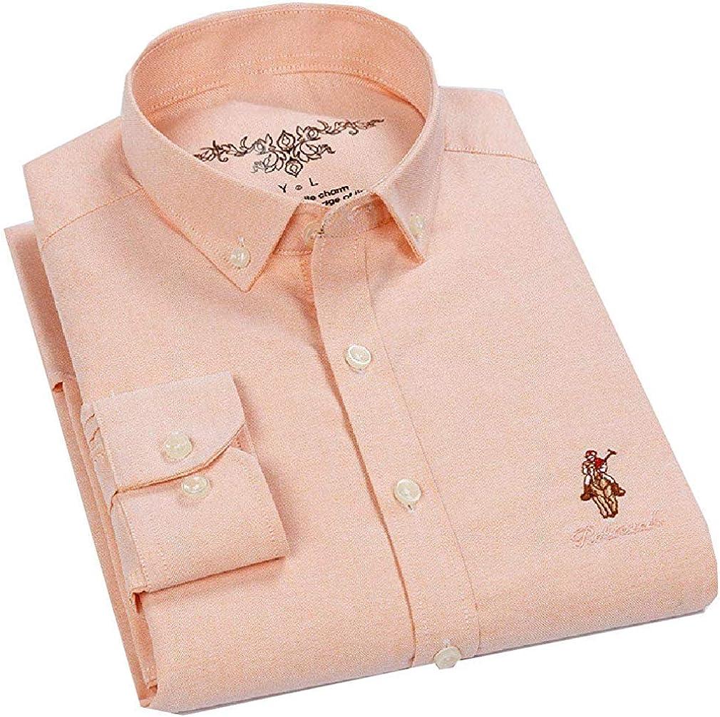 ShuangRun Camisa básica de algodón sin Planchar, Manga Larga, Estilo Oxford, para Hombre Naranja Naranja XXX-Large: Amazon.es: Ropa y accesorios