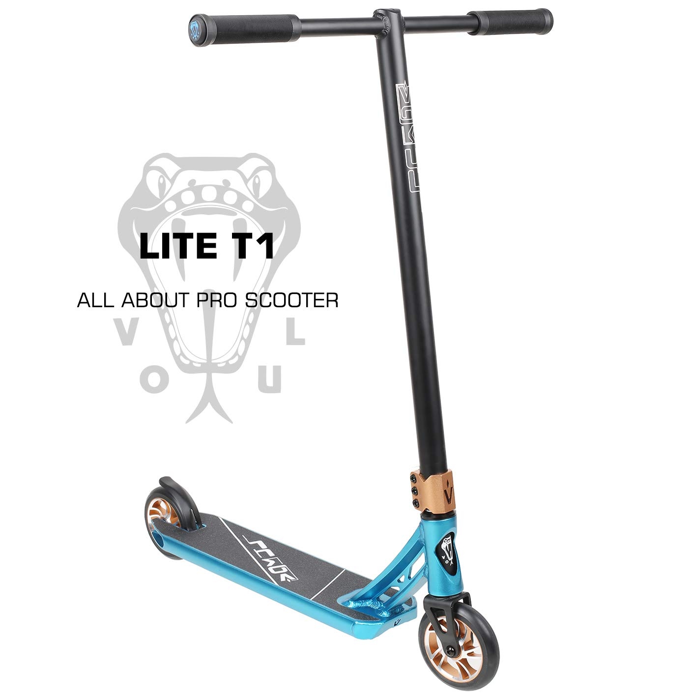VOKUL LITE Series Complete Pro Stunt Scooter for Kids/Teens, with Reinforced Frame -Lightweight Aluminum Handlebars and 120mm Metal Core Wheels (Blue)