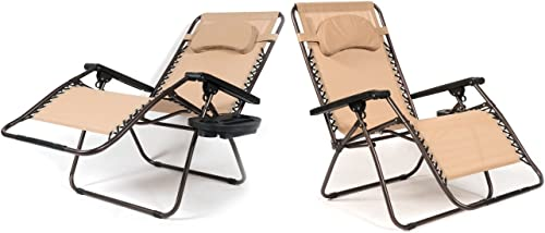 BELLEZE XL Oversized 2 Pack Zero Gravity Chairs Patio Lounge Cup Holder/Utility Tray