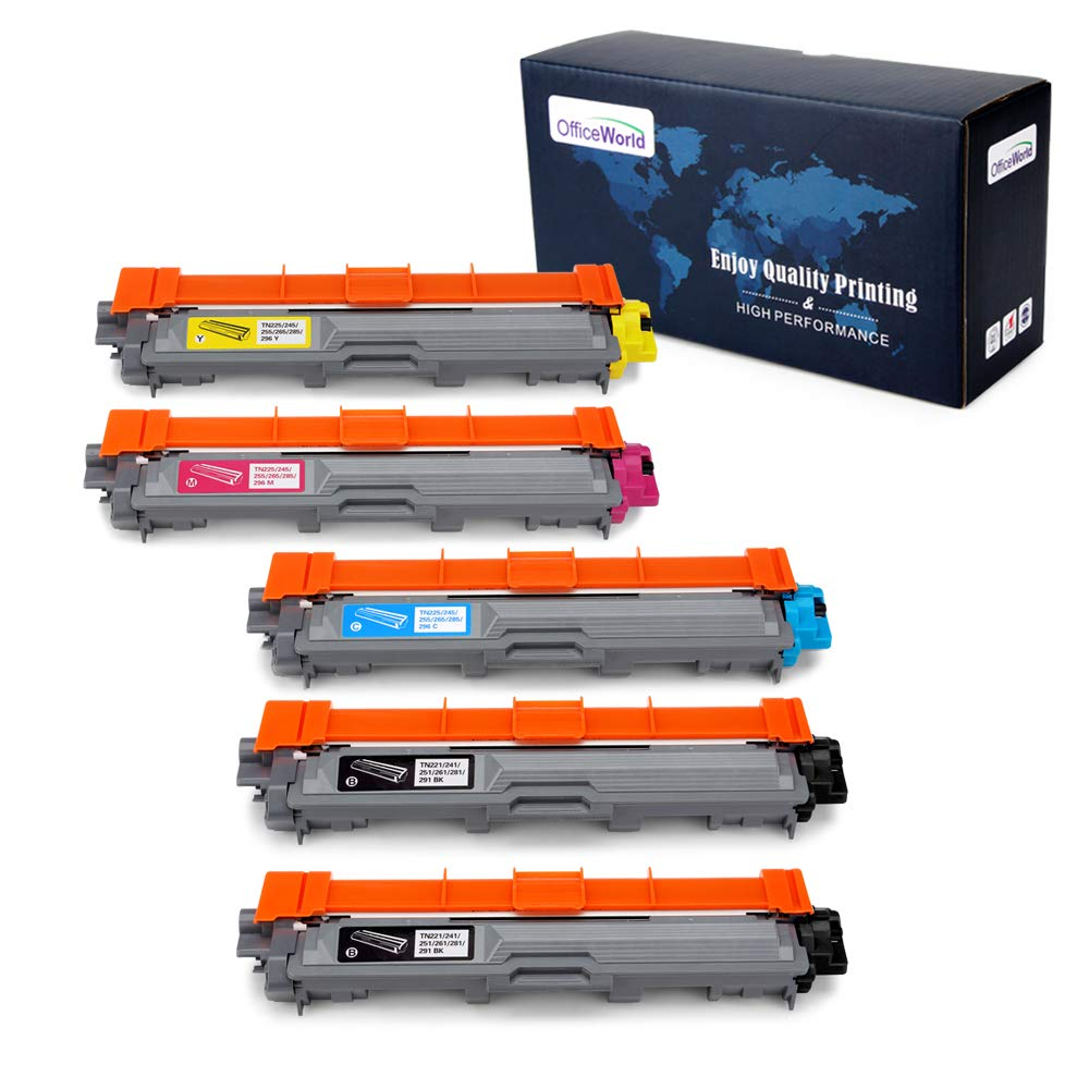 Office World Compatible Toner Cartridge Replacement for Brother TN221 TN-221 TN225 TN-225 (2 Black, 1 Cyan, 1 Magenta, 1 Yellow), Work with Brother HL-3140CW HL-3170CDW MFC-9130CW MFC-9330CDW