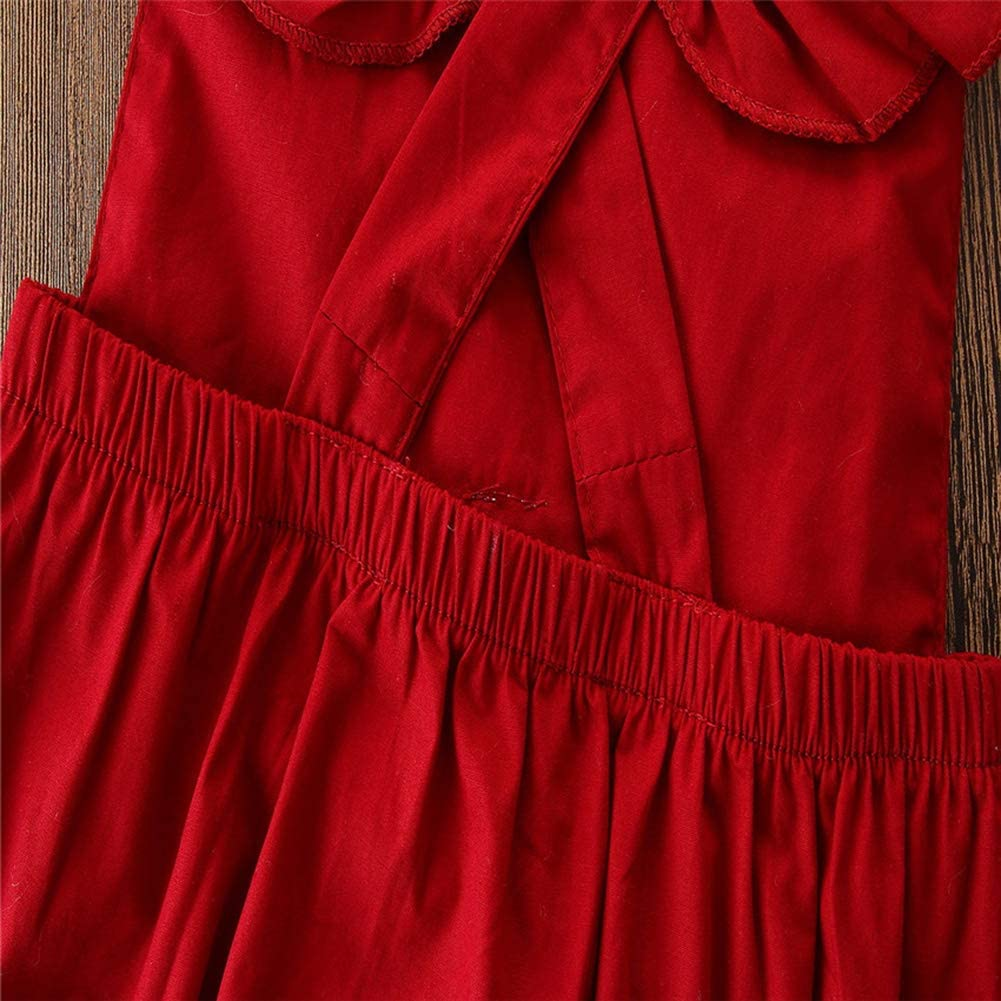 Baby Girl Romper 2PCS Short Petal Sleeve Lace Backless Elastic Waist Red Jumpsuits Headband 0-24M