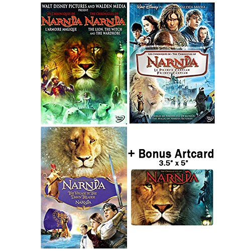 The Chronicles of Narnia: Complete Movie Trilogy DVD Collection (The Lion, the Witch and the Wardrobe / Prince Caspian / Voyage of the Dawn Treader) + Bonus Art Card -