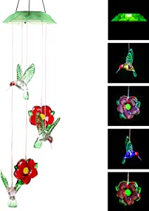 TZSSP Wind Chime Solar Chimes Changing Color Solar Waterproof Wind Bell Light for Home Party Night Garden Patio Decoration,Hummingbird (Flower)