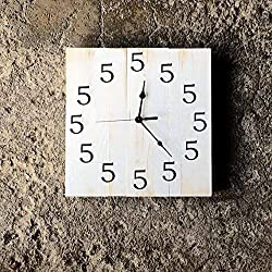 CUSTOM 12 Square Wood Wall Clock. It's 5 O'Clock Somewhere. Choose Your Clock Face and Hand/Number Color, All 5's. Made by Seeka Decor