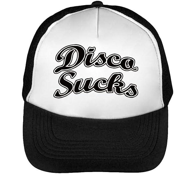 Disco Sucks Funny Gorras Hombre Snapback Beisbol Negro Blanco: Amazon.es: Ropa y accesorios