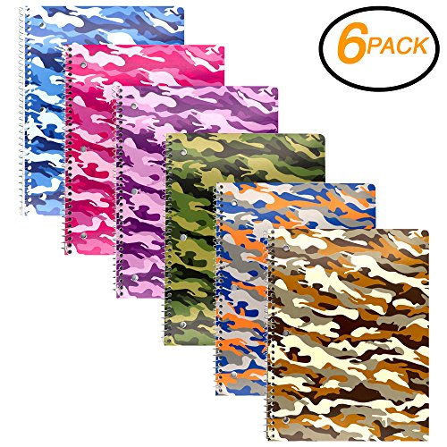(Emraw 1-Subject Camouflage Spiral Notebook 70 Sheets College Ruled Wire Binding Meeting Notebook Durable Laminated Cover Assorted Color Wire Bound Small Notebook 3 Hole (6-Pack))