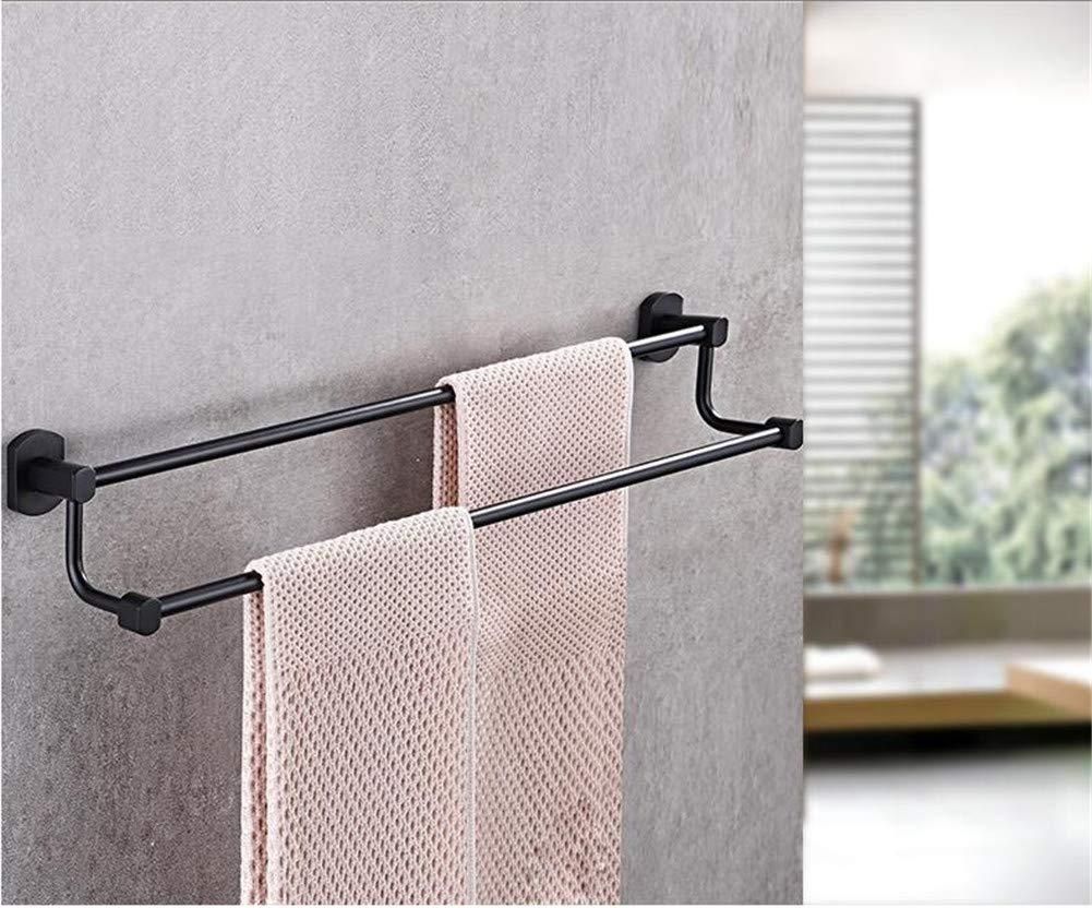 HUIYUE Schwarz Doppel-Pole Handtuchhalter,Alle Kupfer Handtuchhalter,Handtuchhalter Badezimmer anhänger Wall Mount handtuchhalter-N 85cm(33inch)