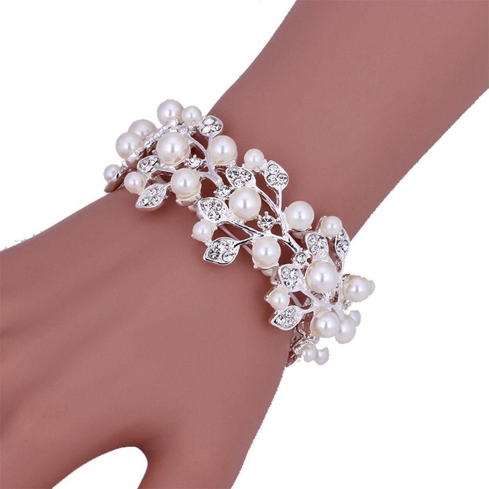 Crystal Pearl Leaf Silver Color Bridal Bracelets for Women Wedding Jewelry Bracelets 10