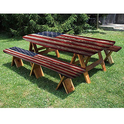 72″ Polyester Picnic Table and Bench Fitted Tablecloth,Fourth of July Independence Day Weathered Retro Wood Wall Looking Country Emblem 3-Piece Elastic Edged Table Cover for Christmas,Parties,Picnic