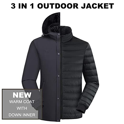 0618ffbcfae4 Image Unavailable. Image not available for. Color: Men's 3-in-1 Down Jacket  Waterproof Windproof Hooded Warm Parka Snow ...