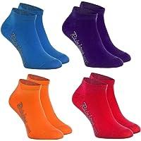 Rainbow Socks - Niños y Niñas - Calcetines Cortos de Algodón - 4 Pares - Jeans Violeta Naranja Rojo - Talla 24-29