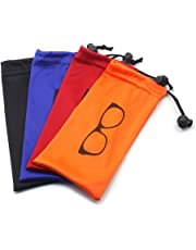 Soft storage Pouch Drawstring Microfiber With Bead Lock for eyewear,cosmetics, pens, keys, small item (4 color/set)