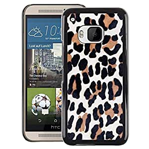 A-type Arte & diseño plástico duro Fundas Cover Cubre Hard Case Cover para HTC One M9 (Leopard Pattern Brown Animal Fur Black)