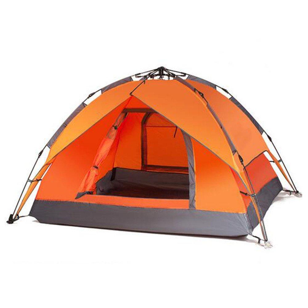 Hlxx Camping Automatische Zelt Im Freien 3-4 Doppel-Strand-Zelt,Orange