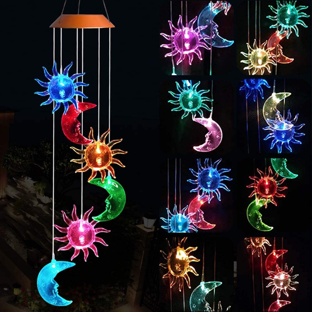 NIB~ SUNSPOT SOLAR Crackle Glass Wind Spinner //Color Changing~ Gift idea~2 Avail