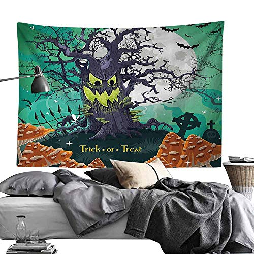 Homrkey Bed Linen Tapestry Halloween Trick or Treat Halloween Theme Dead Forest with Spooky Tree Graves Big Mushrooms Kids Cartoon Hippie Tapestry W90 x L59 Multi]()