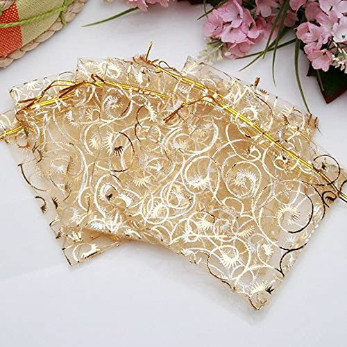 10 Organzsasäckchen 7x9cm Weiß Gold Rose Hochzeit