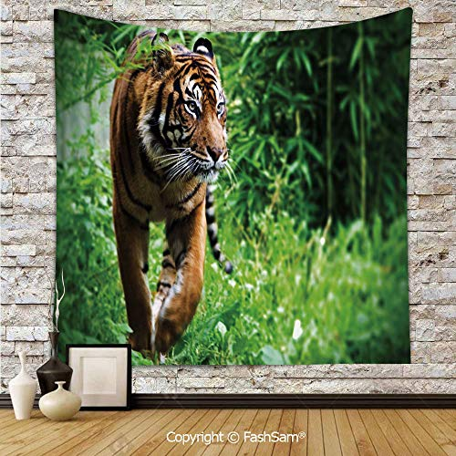 Polyester Tapestry Wall Siberian Large Feline at Zoo Wildlife at Captivity Unnatural Habitat Agressive Animal Hanging Printed Home Decor(W39xL59)]()