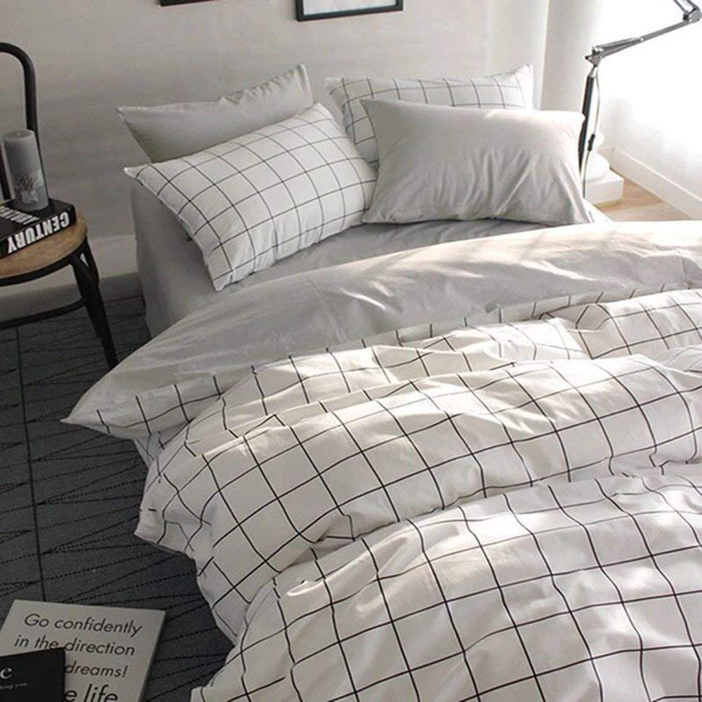 VClife Queen/Full Duvet Cover Set Cotton Bedding Set Collection with 2 Pillow Shams Grey White Checkered Style by VClife