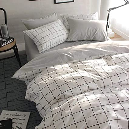 Amazoncom Vclife King Bedding Sets Cotton Checkered Duvet Cover
