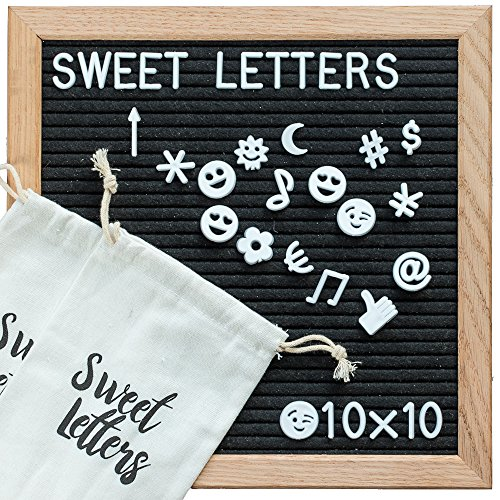 Letter Board - Changeable Felt Letter Board 10x10 Inch | BONUS Two Extra Bags | Oak Wood Frame & Holder | Wooden Letter Board Includes 340 Letters, Numbers & Emojis. Perfect as Decorative Letter Board by Sweet Letters