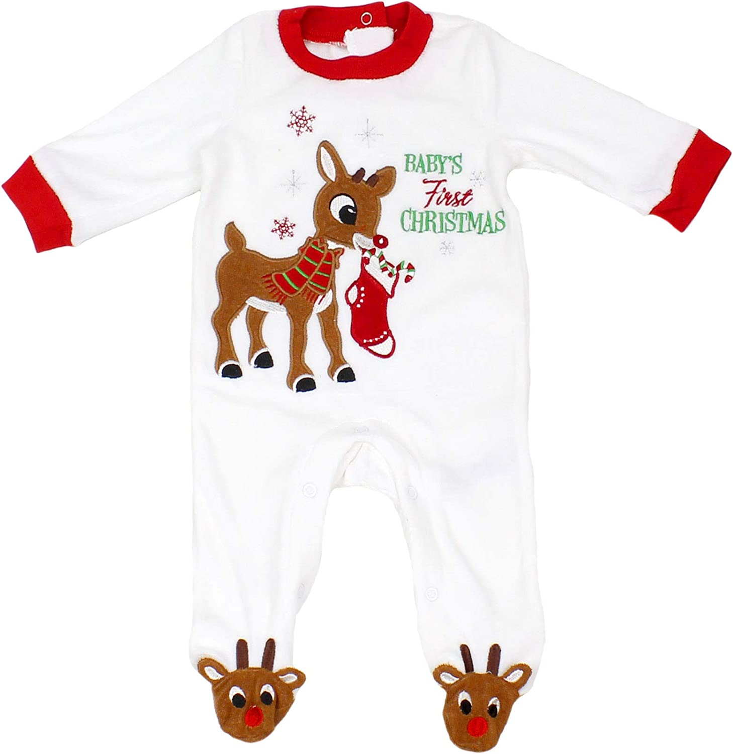 Baby\u2019s First Christmas Red /& Green striped cotton baby onesie with Christmas Tree