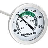 REOTEMP K83B1 Soil & Compost Thermometer, 12 Inch Stem, with PDF Composting Guide, 32-178 Fahrenheit and Celsius