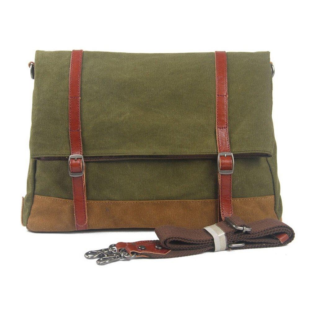 Messenger & Shoulder Bags Mens Shoulder Bag Simple Retro Zipper Waterproof Canvas Quality Briefcase Shoulder Bag Messenger Bag Color: Army Green Messenger Bag for Laptop Camera by Zhouminli