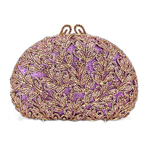 Flower Evening Crystal Bag Golden Stones Rhinestone Clutch Evening Bag