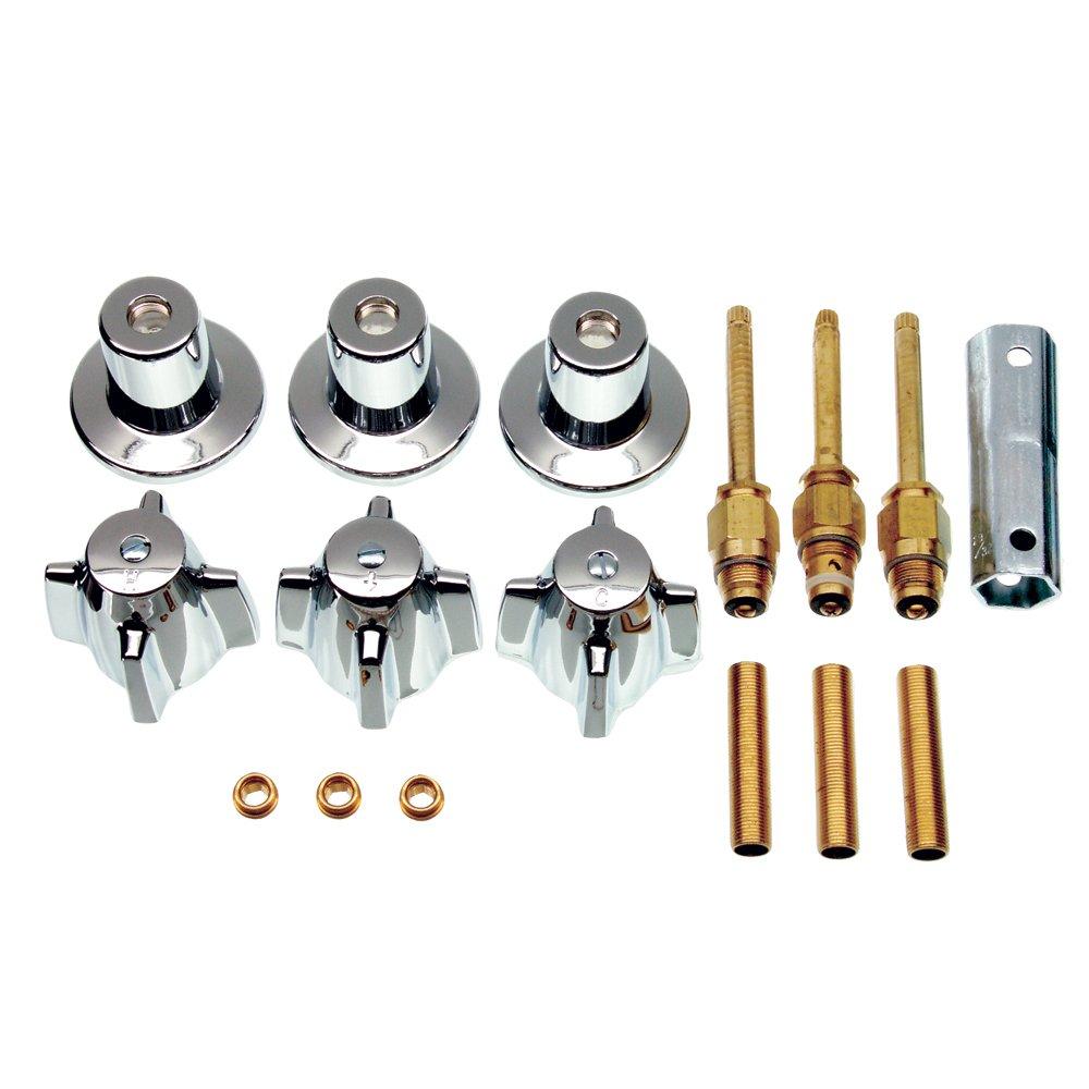DANCO Bathtub and Shower 3-Handle Remodel/Rebuild Trim Kit for Central Brass Faucets | Knob Handle | 10L-11H, 10L-11C, 10L-13D | Chrome (39616) by Danco
