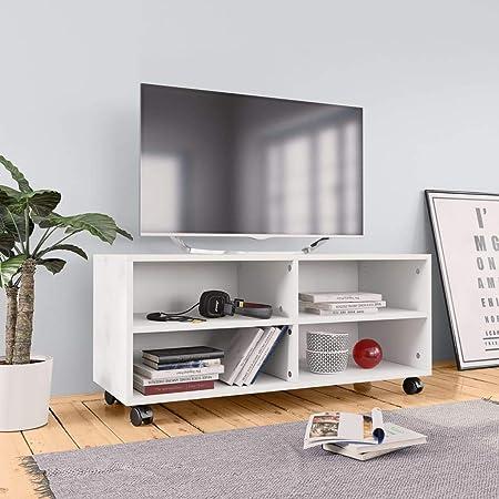 UnfadeMemory Mueble para TV Moderno con Ruedas,Mesa para TV,Mueble de hogar,con 4 Compartimentos Abiertos,Madera Aglomerada,90x35x35cm (Blanco): Amazon.es: Hogar