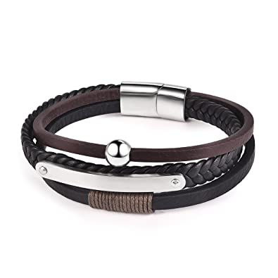 d81cac9ab1d54 OBSEDE Mens Leather Bracelet Cool Magnetic-Clasp Cowhide Braided  Multi-layer Wrap Rope with Silver Beads