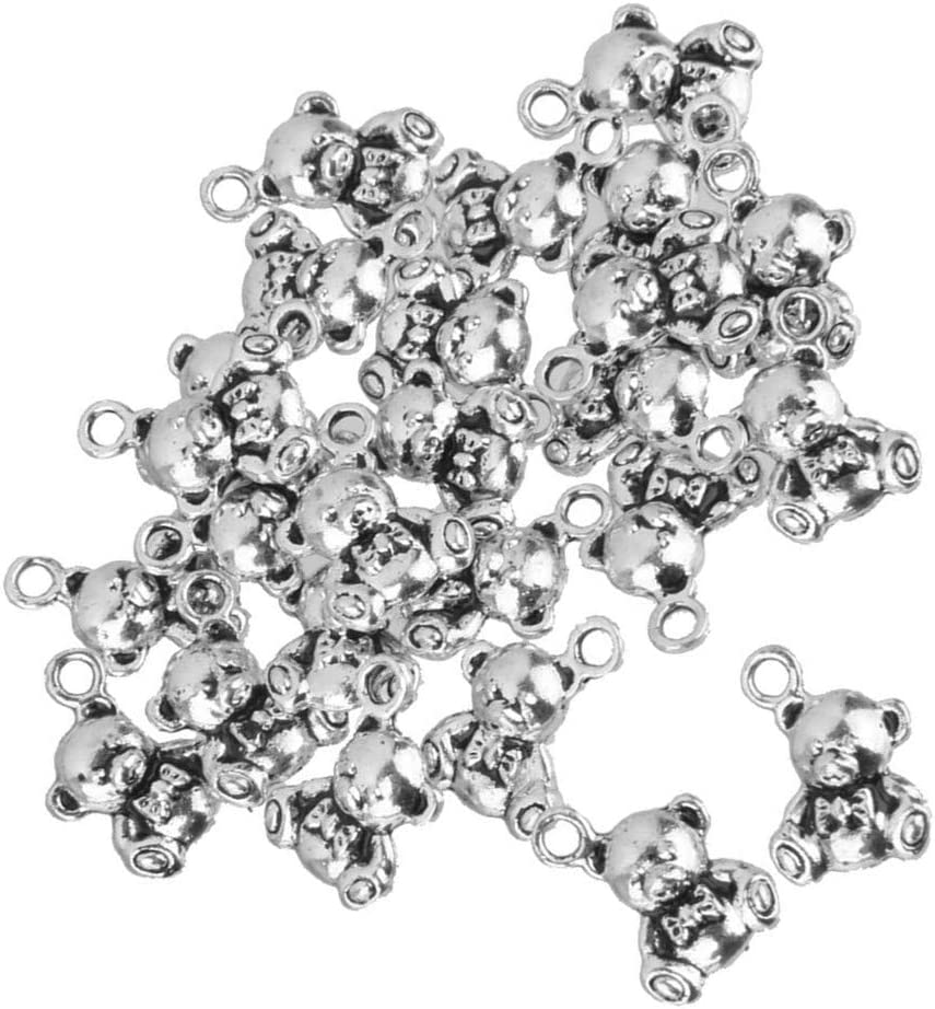 25pcs Little Bear Charms Pendants Antique Silver Jewellery Making and Crafts