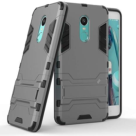 Max Power Digital Funda Carcasa Xiaomi Redmi Note 4/4X Tipo Hybrid Iron Man Antigolpes Híbrida Armadura Robusta con Pata Trasera (Gris)