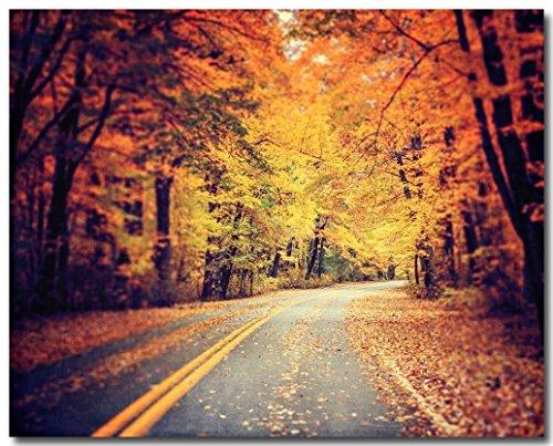 (Autumn Road Photograph, Forest Photo, Orange Decor, Fall Leaves Art.)