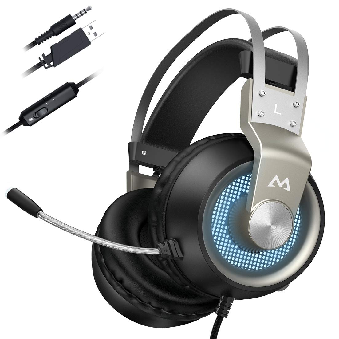 Mpow EG3 PRO Gaming Headset (All-Platform Edition), with Mic, 50mm Drivers,  Bass Boost Surround Sound, In-line Control, Zero Fatigue Earpads, PC, PS4