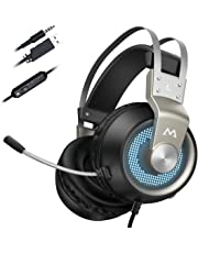 Mpow EG3 PRO Gaming Headset (All-Platform Edition), with Mic, 50mm Drivers, Bass Boost Surround Sound, In-line Control, Zero Fatigue Earpads, PC, PS4 Headset, LED Gaming Headphone for Xbox one, Switch