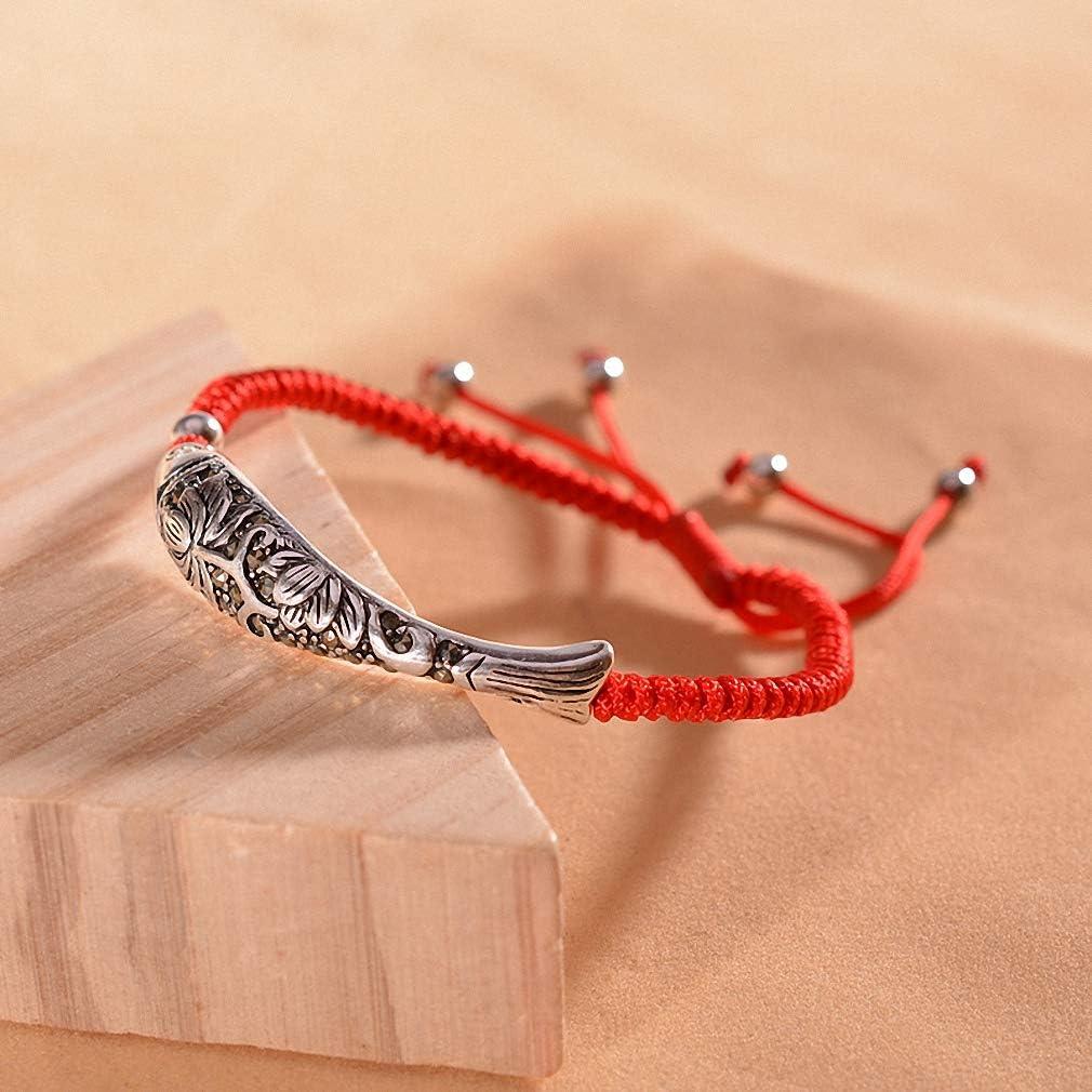 Hynsin Fish Lucky Red Rope Bracelet Handmade Bangle Wax String Amulet Charm Bracelet for Women Ethnic Jewelry