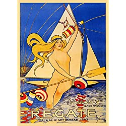 "CANVAS 1897 Blond Girl Lady Sailboat Regate Lago Lake Maggiore Italy Italia Italian Sport Vintage Poster Repro 16"" X 22"" Image Size ON CANVAS. We Have Other Sizes Available"