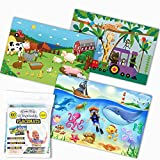 Klean Kids Disposable Placemats for Baby and Kid's Table - Farm, Sea Life, Zoo Train Animals - Sticky Topper - 60 Pack in 3 Designs