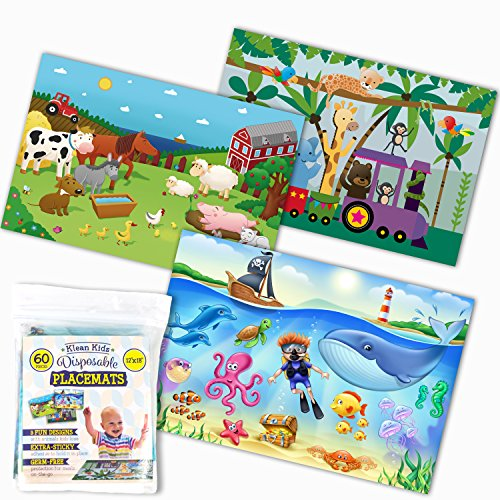 Klean Kids Disposable Placemats for Baby and Kid's Table - Farm, Sea Life, Zoo Train Animals - Sticky Topper - 60 Pack in 3 -