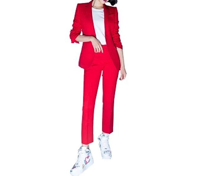 Amazon.com: Traje de negocios para mujer rojo OL Blazer 2 ...