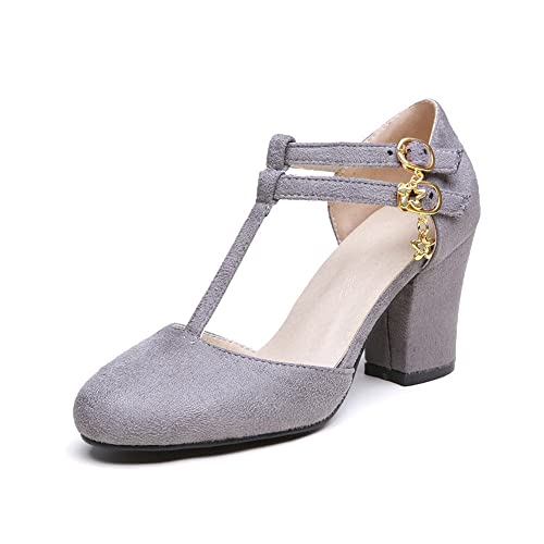 c8393dd276f Jushee Womens Ladies Mid T-Bar Block Heel Mary Jane Ankle Strap Office  Party Court