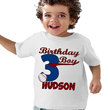 NanyCrafts Childrens Baseball Birthday Boy Personalized Kids Shirts 7 8Y White